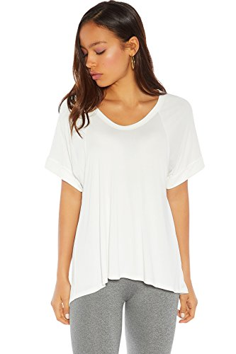 Rohb by Joyce Azria High Line PreRolled Short Sleeve Slouchy High Low Tee Shirt (White) Size L