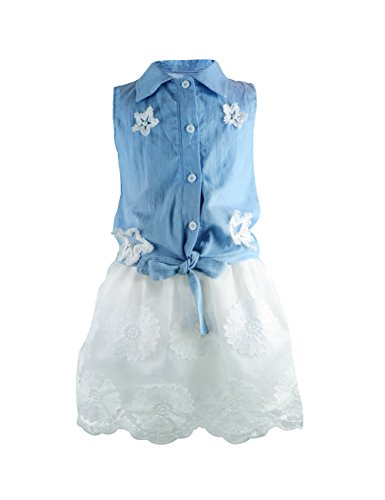 YJ.GWL Girls Clothes 2pcs Skirt Sets Denim Star Top and Lace Skirt with Overlay(Multicoloured,90)