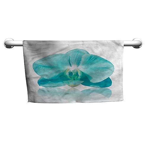 - Bensonsve Pattern Hand Towels Aqua,Blue Orchid Nature Botanic,Bath mat Towel for Bathroom