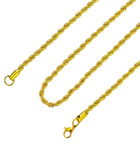 Heraculs Stainless Steel Necklace Chain, 4MM Mens Womens Gold Twist Rope 12-30 Inch