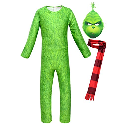 (Children Kids 3D Grinch Jumpsuit Onesie Green Costume Outfit Set (10, Full)
