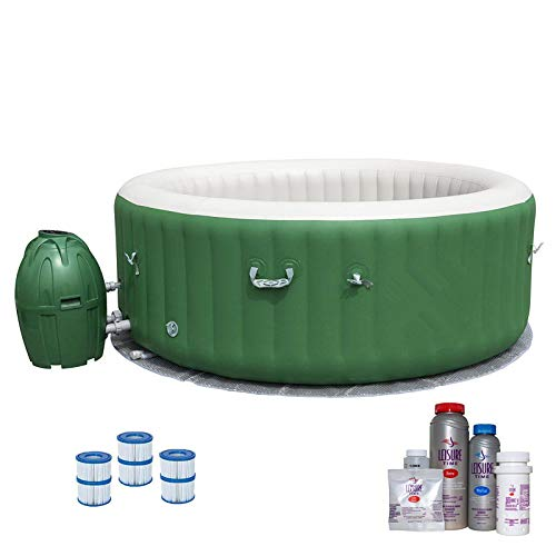 (MRT SUPPLY SaluSpa 6 Person Inflatable Outdoor Spa, Filters, Bromine Starter Kit with Ebook )