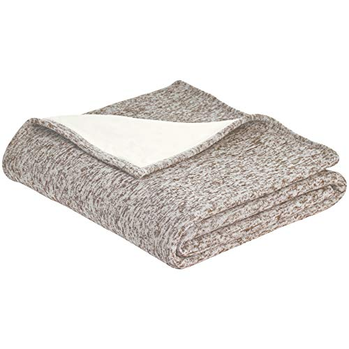 AmazonBasics Reversible Heather Knitted & Sherpa Blanket - S