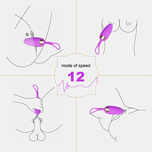 PhiloToys 12 Modes Female Bullet Mini Vibrating Egg, Couples Toys for Sex, Adult Silicone Wireless Remote Control Vibrator, USB Rechargeable,(Purple)
