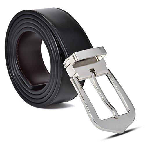 Men's 100% Leather Belt, Reversible Black-Brown, Mark Fred Designer Dress ()