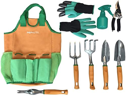 Gardening Gloves Included Great Garden Tools for Woman and Men Gardening Gifts Garden Tool Set 9 Piece Garden Accessories Tool Organizer Kit Garden Tools Organizer Tote Gardeners Supply
