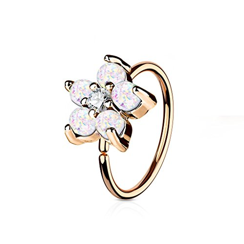 Rose Gold IP Plated Opal Glitter Set Flower Petals CZ Center 316L Surgical Steel WildKlass Hoop Ring for Nose & Ear Cartilage (White) (Flowers Indian Ring)