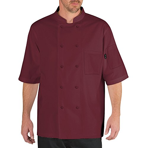Chef Code Cool Breeze Chef Coat with Short-Sleeves and Mesh Vent Inlay CC105 (3XL, Burgundy) by Chef Code