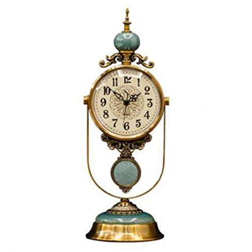 Decorative Clock - Metal + Marble Table Top Table Decoration Ornaments Clock - Living Room Table Clock American Style Clock