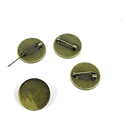 80 Pieces Jewelry Making Charms Findings Antique Bronze Brass Fashion Jewellery Wholesale Supplies Pendant Lots Bulk Supply F8DY2 Round Cabochon Base Setting Brooch 25mm