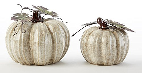 Delton Products Glazed Pumpkin 4 Inches x 4 Inches Ceramic Holiday Figurines Off-White
