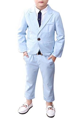 (Boys Blue & Pink Suit Set 2 Pieces Blue & Pink Blazer and Pants Set (3T, Blue))