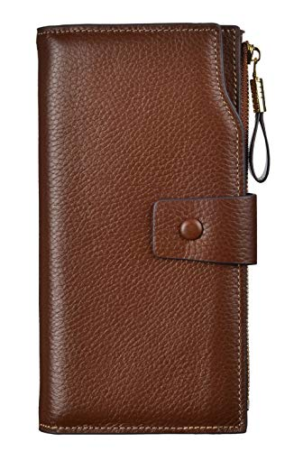 (Women's RFID Large Capacity Luxury Genuine Leather Clutch Wallet Ladies Purse (LicheeCoffee))
