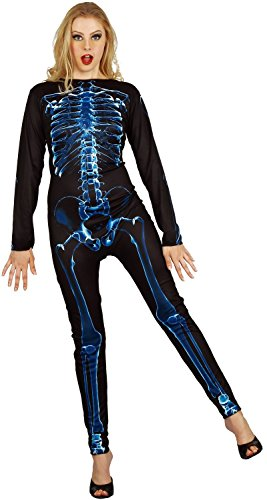 U LOOK UGLY TODAY Womens Halloween Costume X-Ray Skeleton Light Up Jumpsuit for Adult Fancy Party Dress One Size Medium