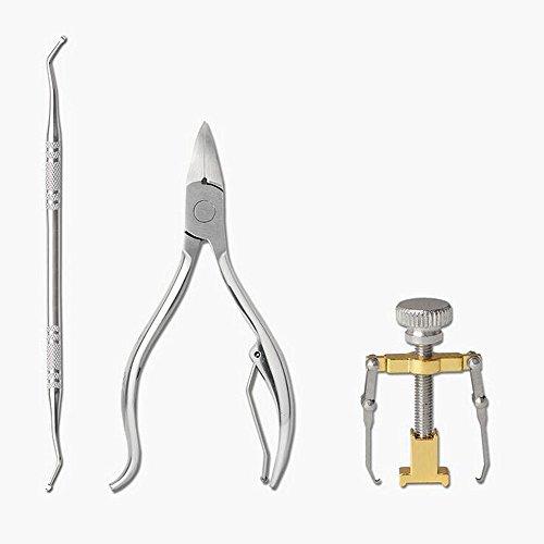 - 3PCS Professional Ingrown Toe Nail Correction Kit Pedicure Toes Treatment Tools Set (1 Ingrown Nail Corrector + 1 Nail File + 1 Heavy Duty Clipper)