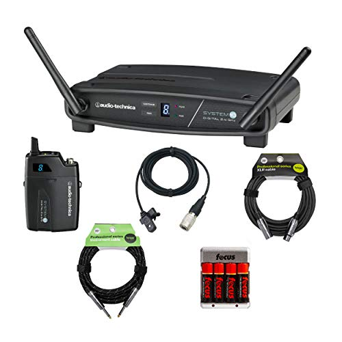 Audio-Technica ATW-1101/L Digital Wireless Lavalier System with Knox XLR Cable, Guitar Cable and Rechargeable Batteries
