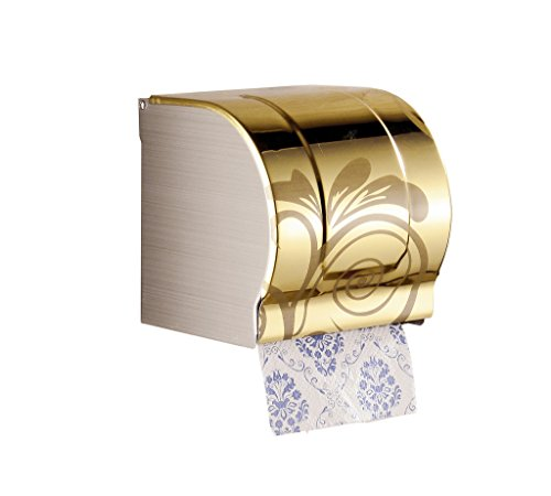 Cavoli Toilet Paper Holder and Dispenser with Cover,Wall Mount,Stainless Steel,Brushed Yellow(Small)