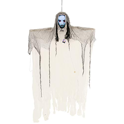 Halloween Haunters 6 Foot Animated Hanging Scary Apparition Strobe Face White Ghost Ghoul Prop Decoration - Light Up Head, Spooky Howls and Moans - Haunted House, Graveyard Entryway - Battery Operated]()