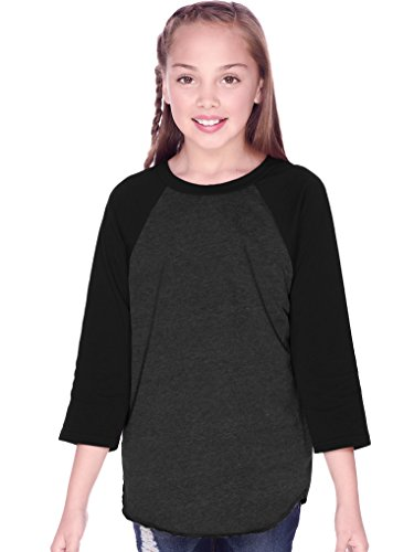 1 Sleeve Jersey - Kavio! Youth Jersey Contrast Raglan 3/4 Sleeve Ht.Charcoal/Black M