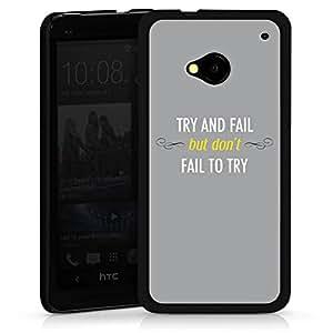 Carcasa Design Funda para HTC One M7 HardCase black - Try and Fail