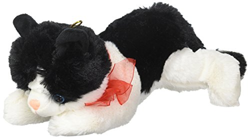 Black and White Plush Kitty Cat with Red Bow for Valentine's Day - Black White Cat