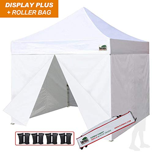 Eurmax 10x10 Ez Pop up Canopy, Commercial Party Tent, Outdoor Shelter with 4 Zippered Sidewalls and Roller Bag (White)