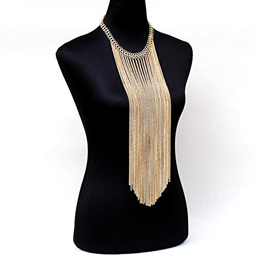 Sexy Body Chain Women Golden Long Tassel Layered Choker Necklace Fashion Jewelry Belly Waist Bra Hot Bikini Beach Harness Birthday Anniversary Festival Gift for Lady Girls
