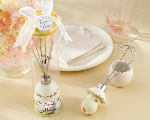 ''About to Hatch'' Stainless-Steel Egg Whisk in Showcase Gift Box - Baby Shower Gifts & Wedding Favors (Set of 24) by Kate Aspen