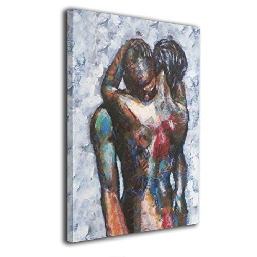 SRuhqu Canvas Wall Art Prints African American Lover Nude Hug Tight -Photo Paintings Modern Home Decoration Giclee Artwork-Wood Frame Ready to Hang