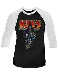 Kiss Neon Band' 3/4 Length Sleeve Raglan Baseball Shirt