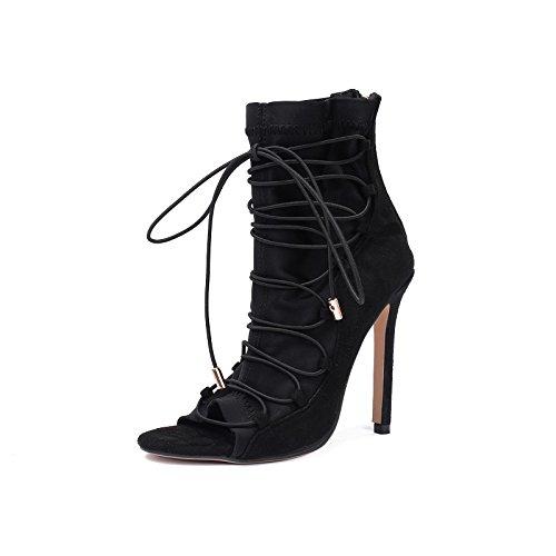 pescado primavera talón verano de botas corto romana stretch y zapatos comienzos mujer de de primavera boca black la zapatos elástico de alto botas Botas de FwH07w