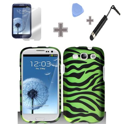 (4 Items Combo : Case - Screen Protector Film - Case Opener - Stylus Pen) Rubberized Bold Black Neon Green Zebra Snap on Design Case Hard Case Skin Cover Faceplate for Samsung Galaxy S3 III i9300, i747, L710, T999, i535 (AT&T, T Mobile, Sprint, Verizon, U.S.Cellular)