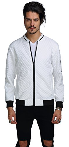 Whatlees Mens Casual Solid Zip Up Elastic Sleeve Slim Jacket With Pockets B151-White-S
