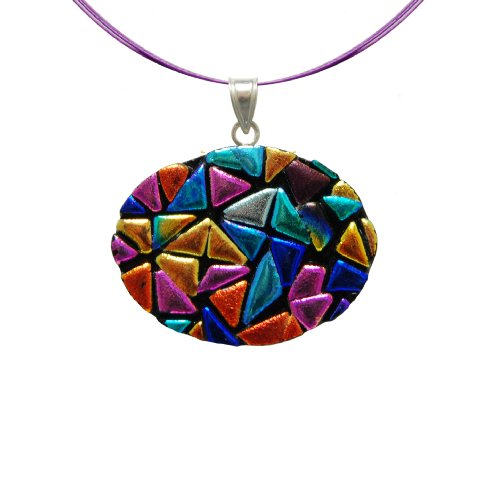(Sterling Silver Dichroic Glass Rainbow Mosaic Oval on Stainless Steel Wire Pendant Necklace- 18
