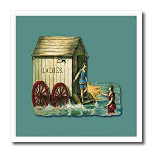 ht_170667_2 BLN Vintage Nautical Illustrations Collection - Victorian Era Ladies Changing Room on the Beach with Two Women - Iron on Heat Transfers - 6x6 Iron on Heat Transfer for White Material