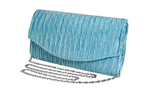 Peach Couture Womens Vintage Satin Pleated Envelope Evening Cocktail Wedding Party Handbag Clutch (Baby Blue)