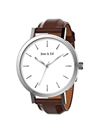 June & Ed Quartz Stainless Steel Men's Watch with Sapphire Crystal Dial Window - Silver W-0011