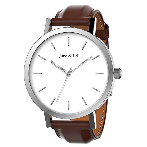 Stainless Steel Sapphire Crystal (June & Ed Quartz Stainless Steel Men's Watch with Sapphire Crystal Dial Window - Silver)