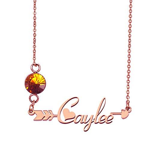 HUAN XUN Custom My Name Caylee Birthstone Pendant Necklace ()