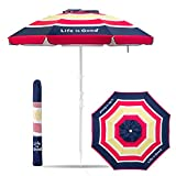 Life is Good Beach Umbrella with Sand Anchor, Towel Hook, Tilt and Telescoping Pole (Blue/Pink Stripe) For Sale