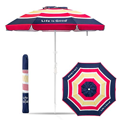Life is Good ALIGUMB-BP-1PK Beach Umbrella with Sand Anchor, Towel Hook, and Tilting Pole, Blue/Pink