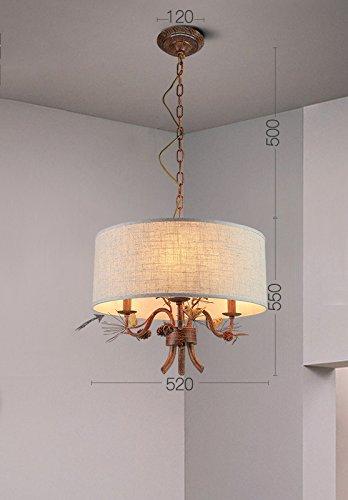 DHG American Country Vintage Art Pine Bird Chandelier, European Pastoral Creative Restaurant Living Room Bedroom Iron Lighting,B,One Size