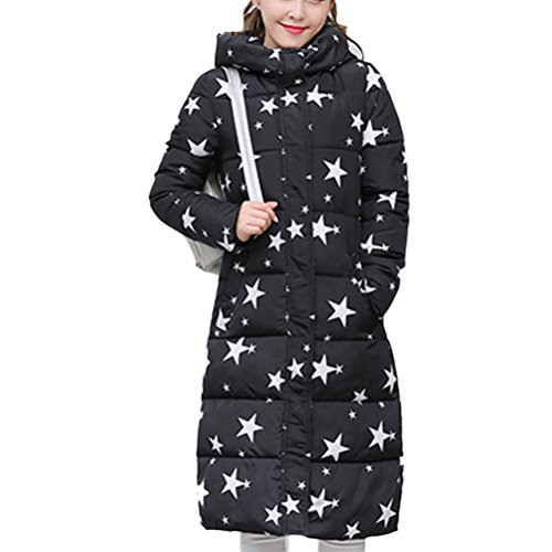 Zhhlaixing Abrigo de moda Multicolor Cotton Long Jacket Female Hooded Down Korean Style Slim Thin Coat Black&White
