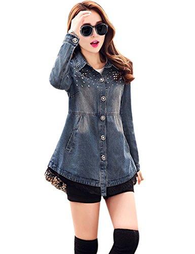 Yeokou Women's Casual Slim Mid Long Denim Jean Trucker Windbreaker Jacket Coat by Yeokou