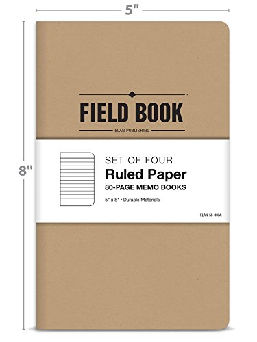 Field Notebook - 5''x8'' - Kraft - Lined Memo Book - Pack of 4 by Elan Publishing Company (Image #2)