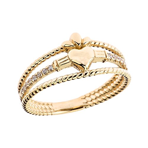 Modern 14k Yellow Gold Diamond 3-Row Claddagh Rope Engagement/Proposal Ring (Size 5.5)