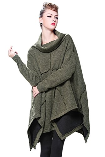Collar Cotton Women Poncho - Mordenmiss Women's Oversized Sweater Spring Day Bat Shirt Style 1 Army Green One Size
