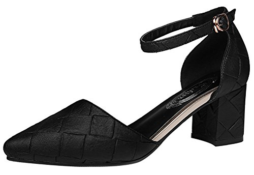 Passionow Women's D'Orsay Style Pointed Toe Ankle Buckle Strap Solid Mid Chunky Heel Pumps (7 (Slender Man Costume For Kids For Sale)