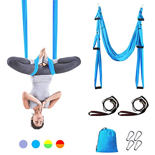Sotech Yoga Trapeze, Anti-Gravity Yoga Swing Sling Hammock for Aerial Yoga Inversion Tool with 2 Daisy Chain, Turquoise ()