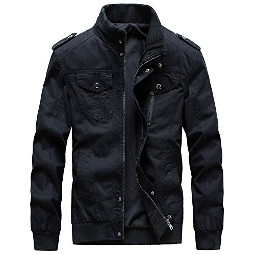 Womleys Mens Casual Windbreaker Outerwear Military Jackets Cotton Outdoor Coat (Medium, B-Black)